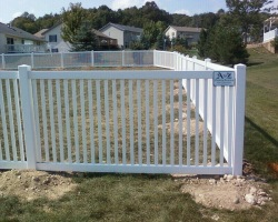 "DJ vinyl fence with 2"" pickets and straight top"